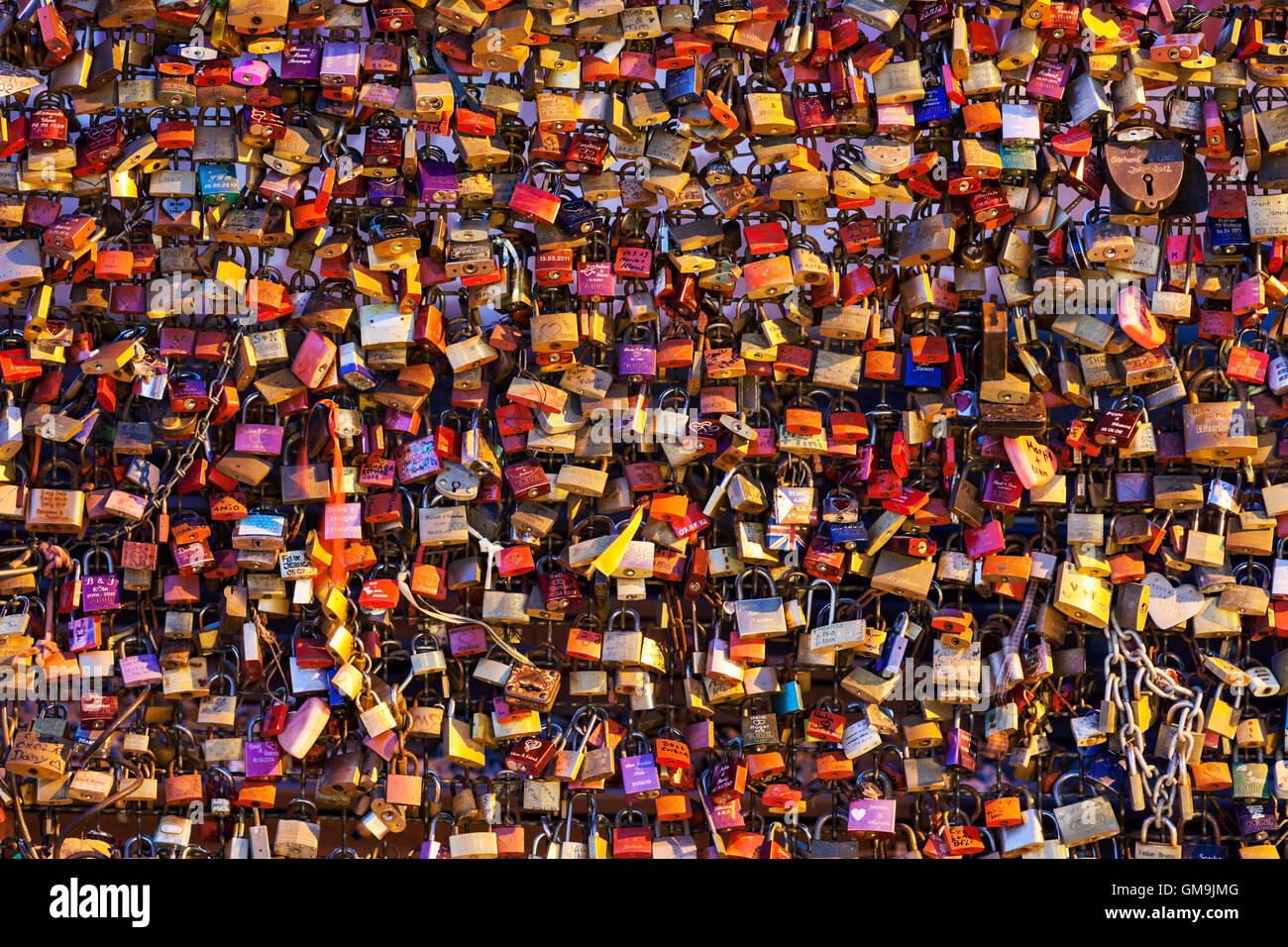 Germany, North Rhine-Westphalia, Cologne, Love padlocks on Hohenzollern Bridge - Stock Image