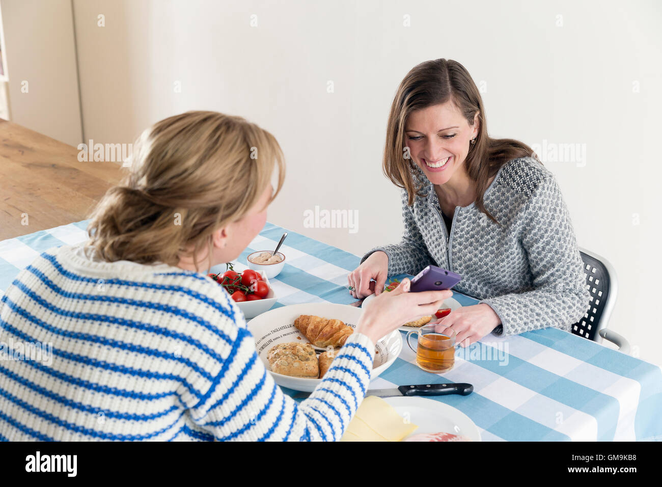Women at laid table in dining room - Stock Image