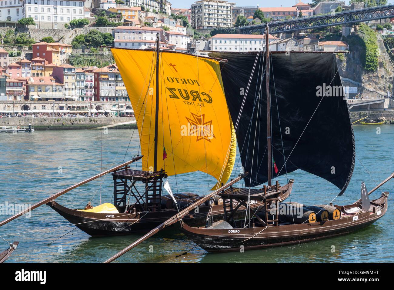 Barcos rabelos, traditional wooden boats, on the river Douro, Vila Nova de Gaia Stock Photo