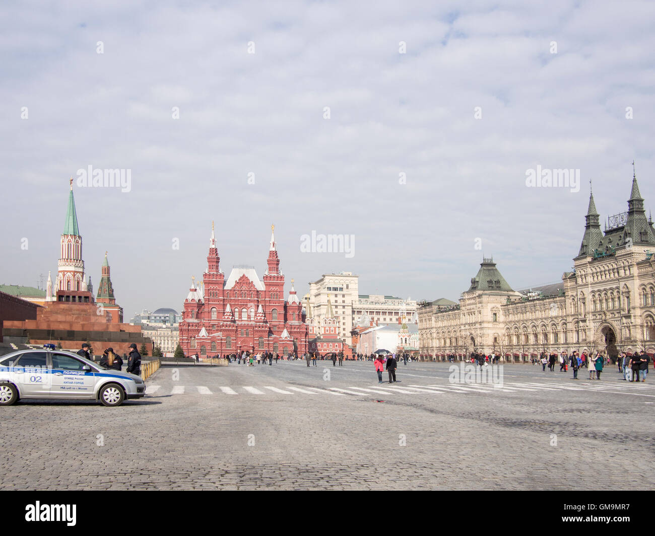 Red Square in Moscow, separates the Kremlin, the former royal citadel and the residence of the President of Russia. - Stock Image
