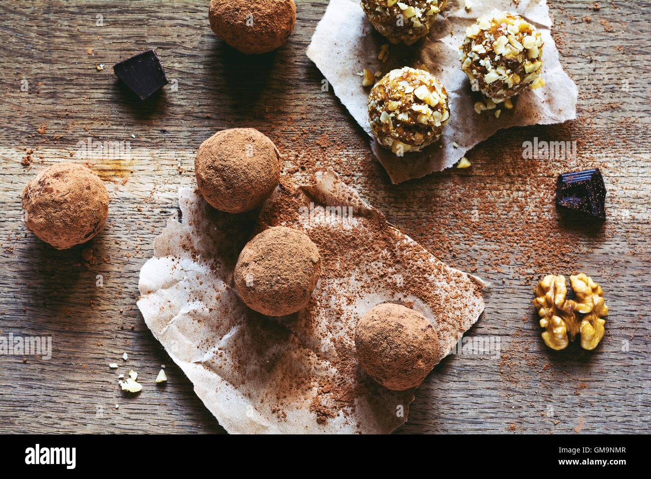 Homemade chocolate truffle balls - Stock Image