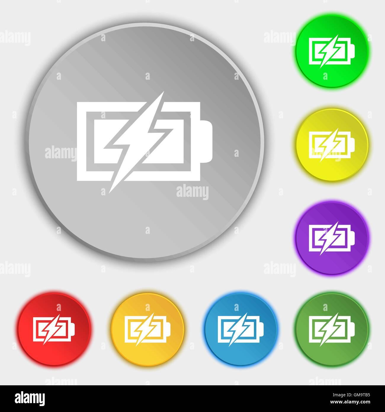 Battery charging sign icon. Lightning symbol. Symbols on eight flat ...