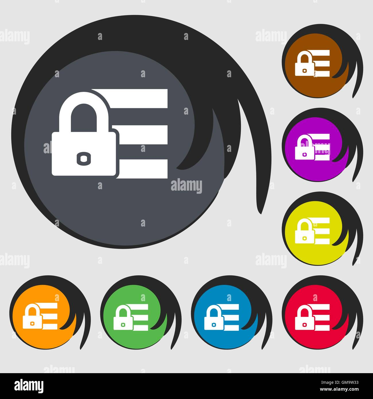 Lock, login icon sign  Symbols on eight colored buttons