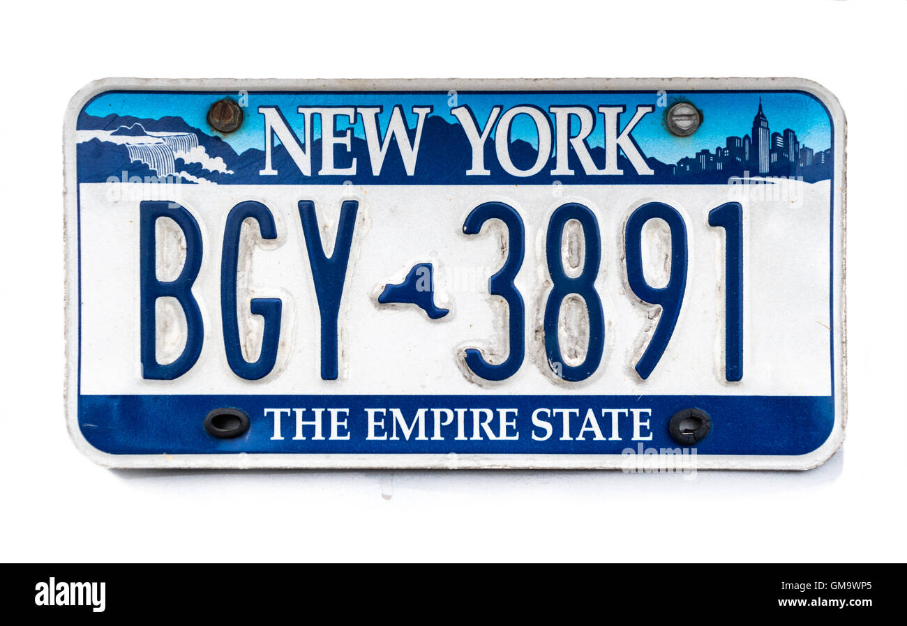 New York license plate; vehicle registration number. New York NY ...
