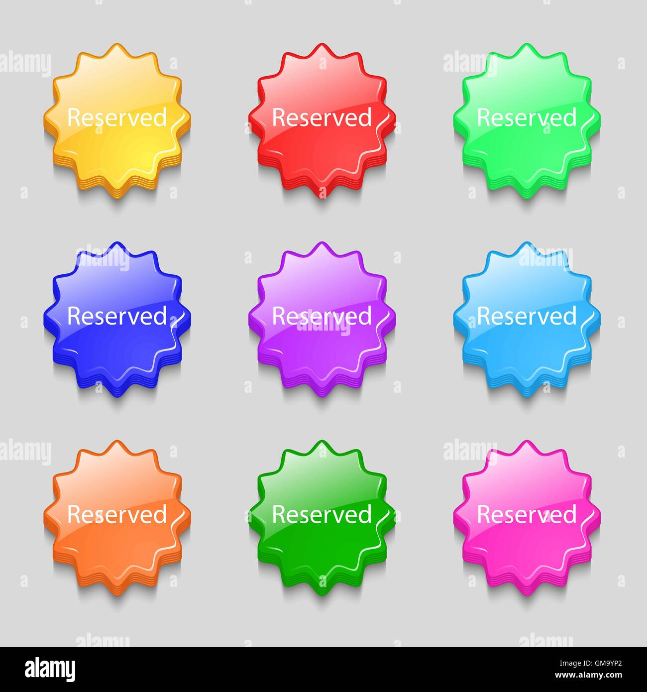 Reserved sign icon. Symbols on nine wavy colourful buttons. Vector - Stock Image