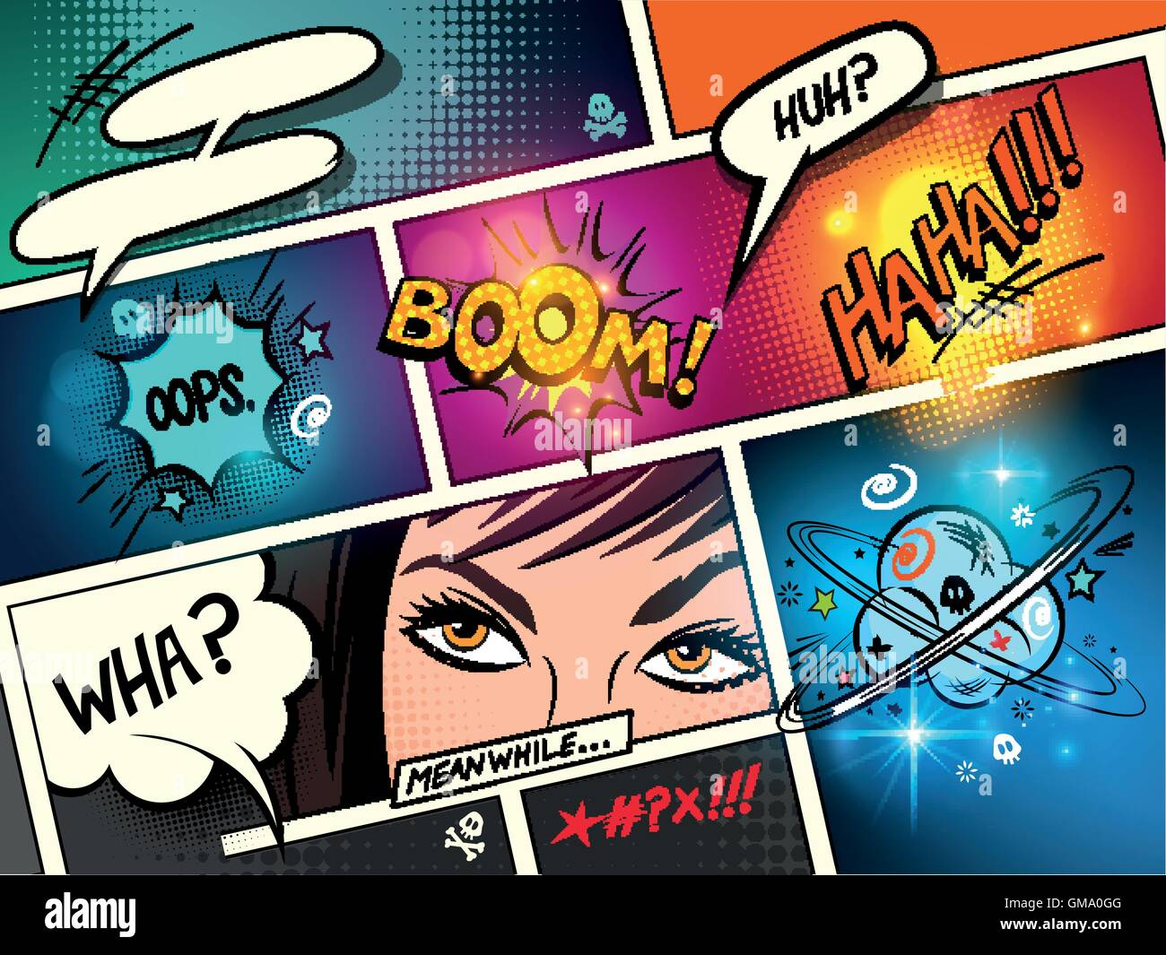 Speech Bubbles on a comic strip background with cartoon actions. vector illustration - Stock Image