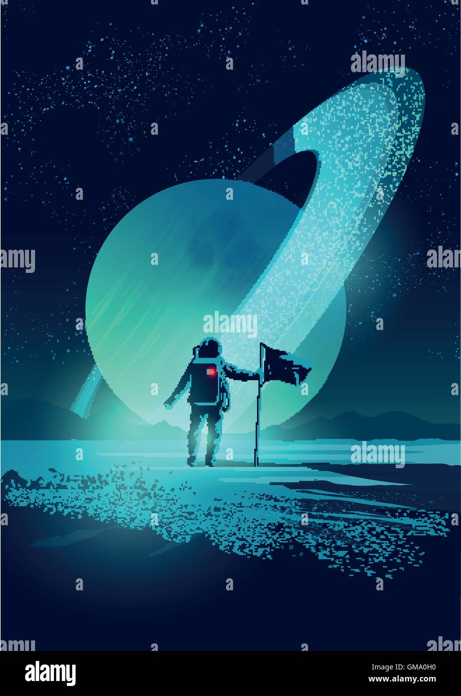 An Astronaut plants a flag on a distant planet set against a gas giant ringed planet. Vector illustration - Stock Image