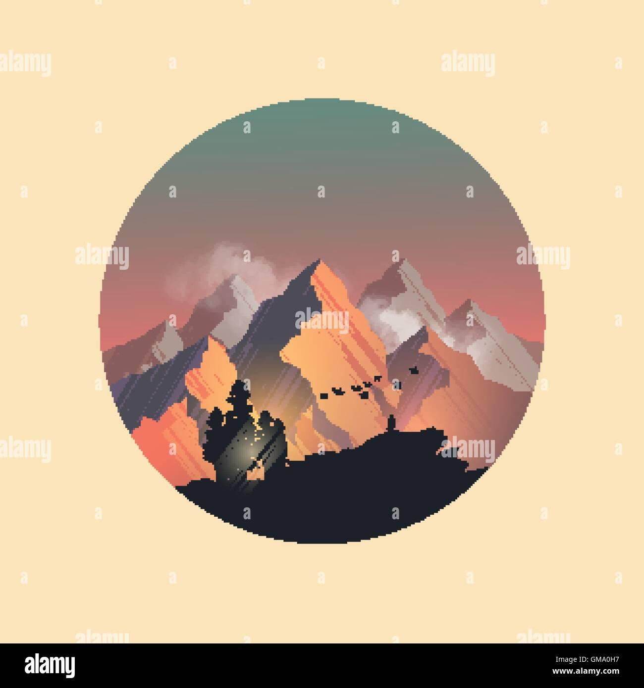Mountain range peaks catching the evening sunlight. Vector illustration - Stock Vector