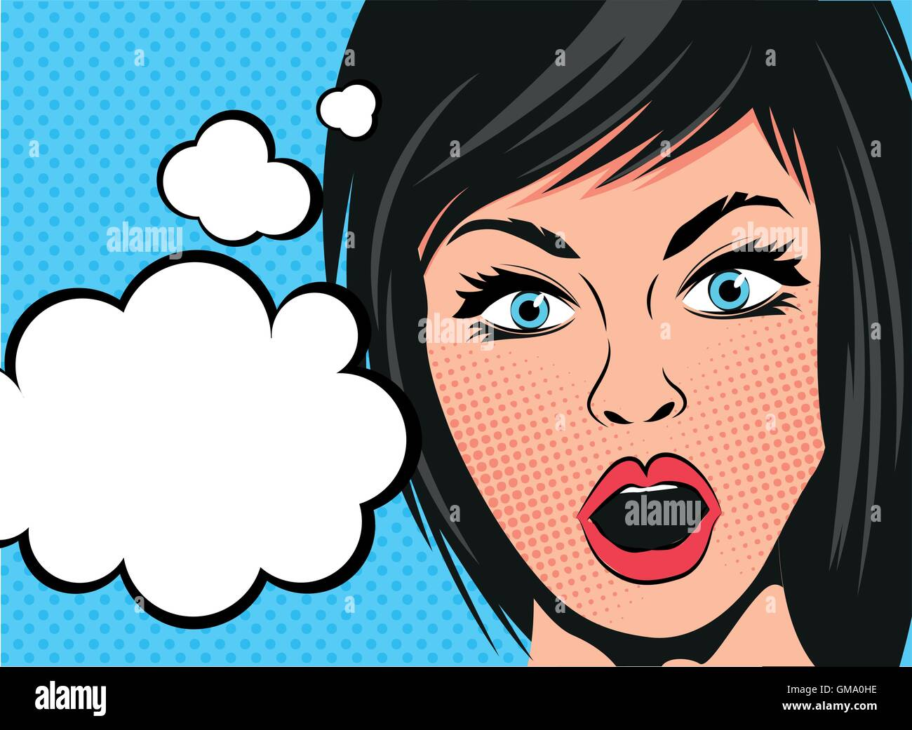 A retro cartoon woman with a shocked expression and speech bubbles. Vector illustration. Stock Vector