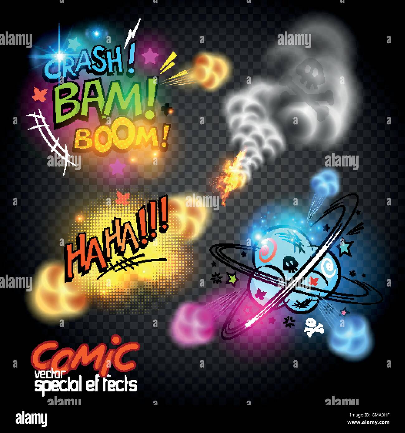 Glowing retro comic book symbols and expressions, vector illustration. - Stock Image