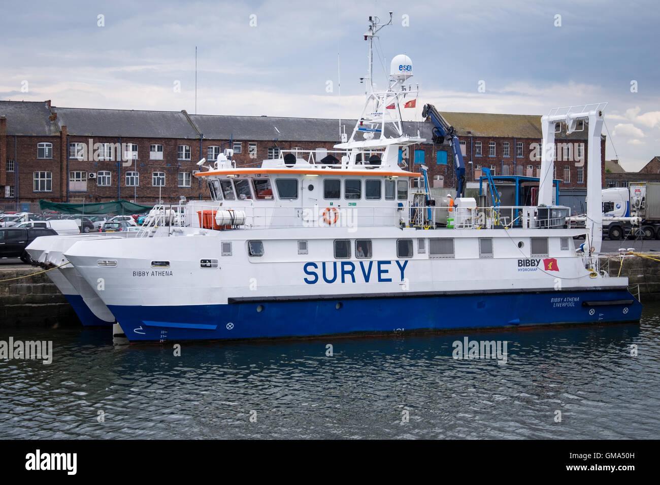 Survey vessel, 'Bibby Athena' in Grimsby Royal Dock - Stock Image