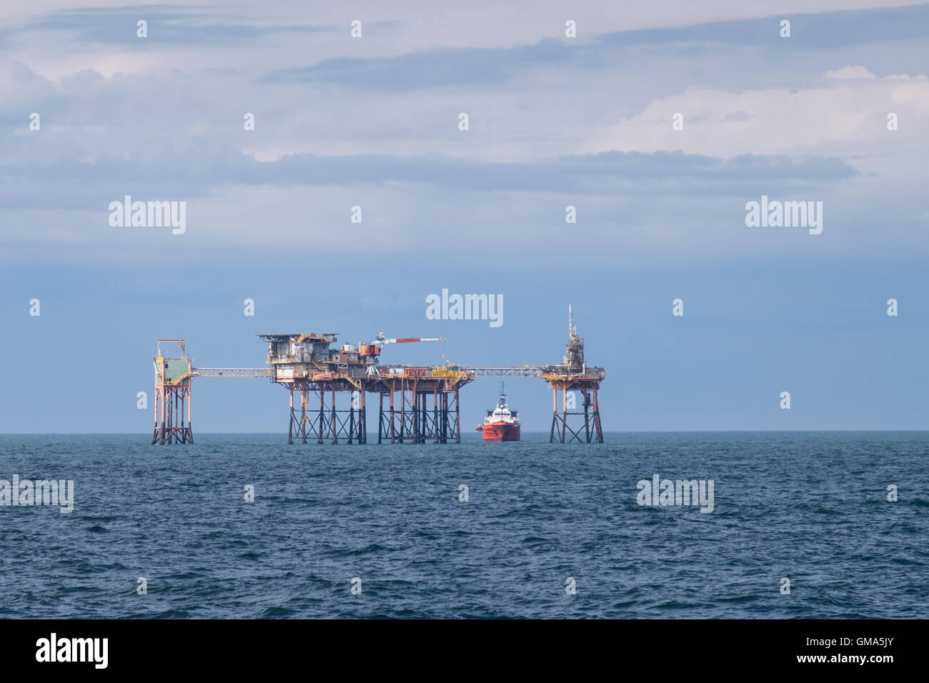 The West Sole A oil platform complex in the North Sea - Stock Image