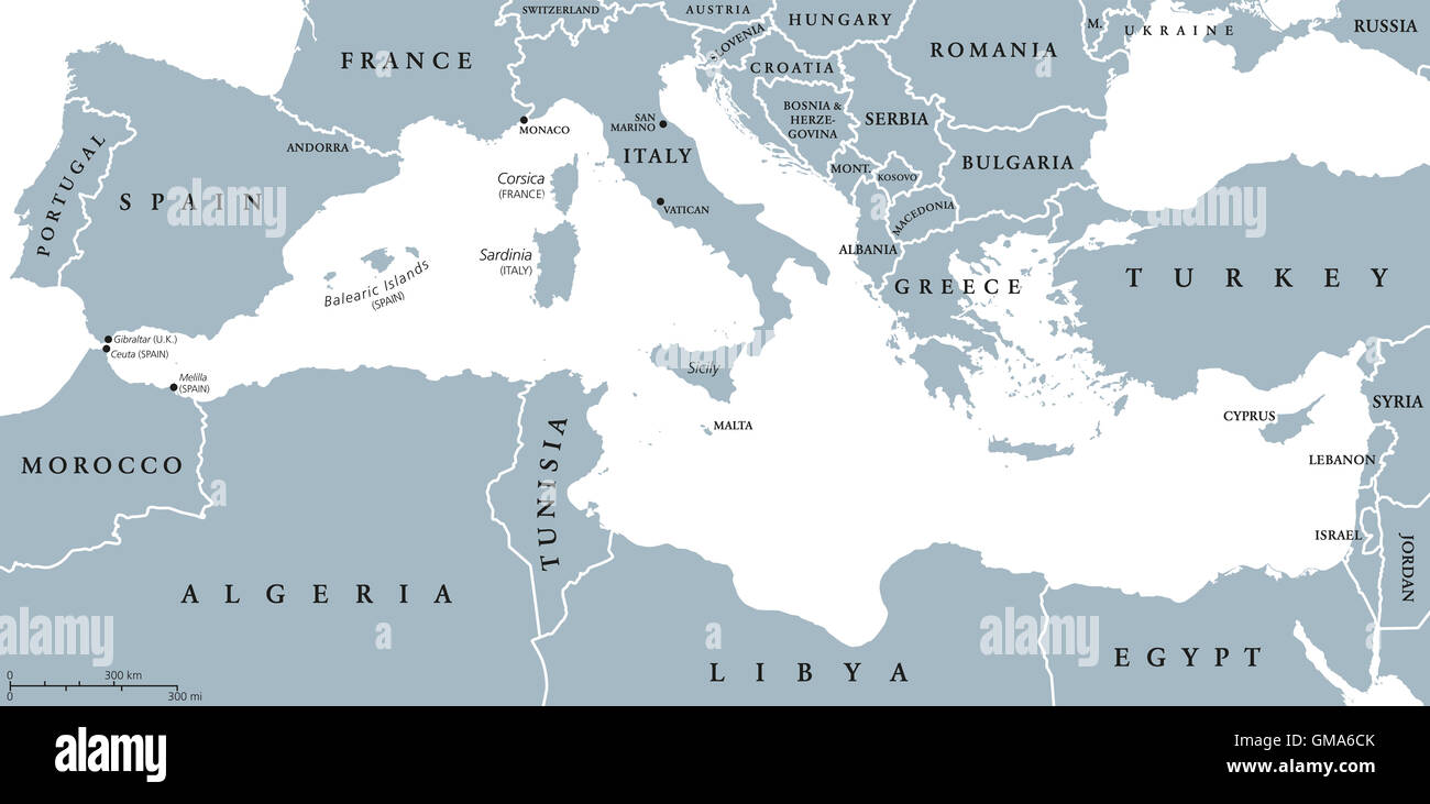 Mediterranean Sea region countries political map with national borders. South Europe, North Africa and Near East. - Stock Image