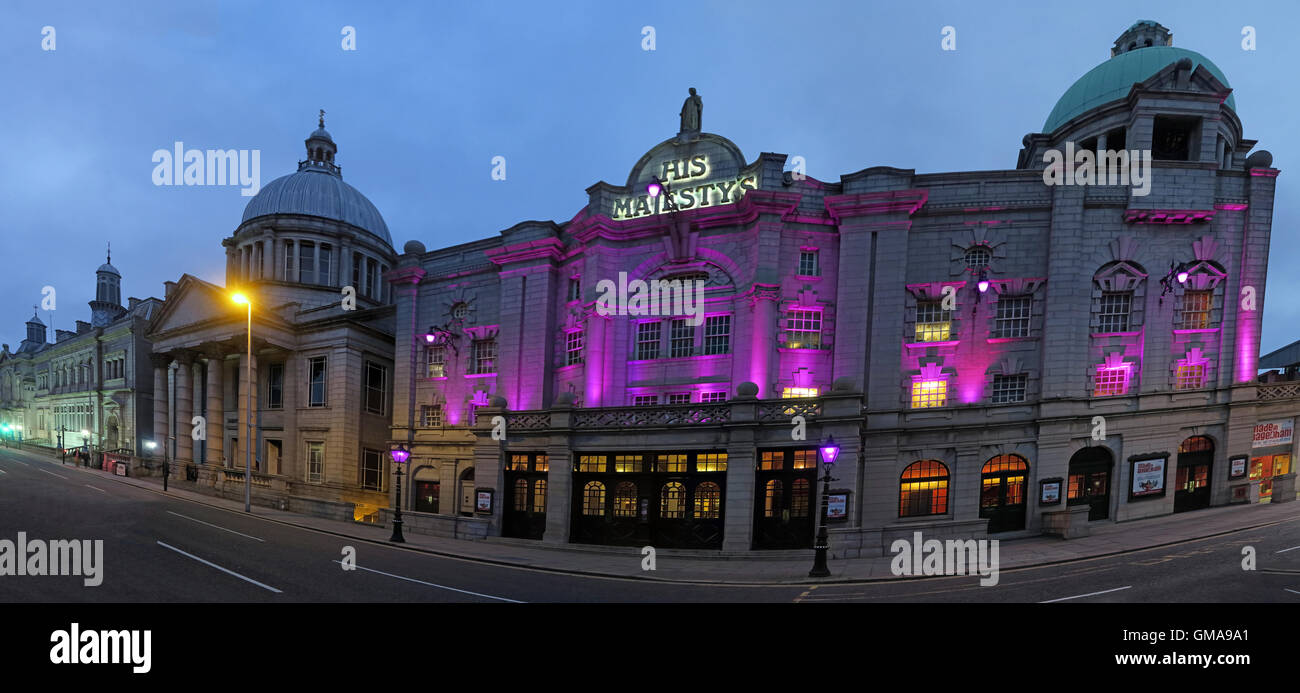 His Majestys Theatre, Aberdeen City Centre, Scotland, UK at night - Stock Image