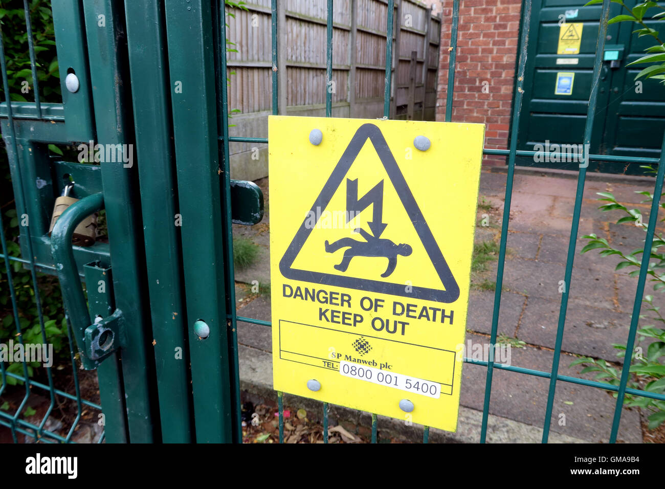 Substation - Danger Of Death, Keep Out Notice, Norweb Warrington, Cheshire, UK - Stock Image