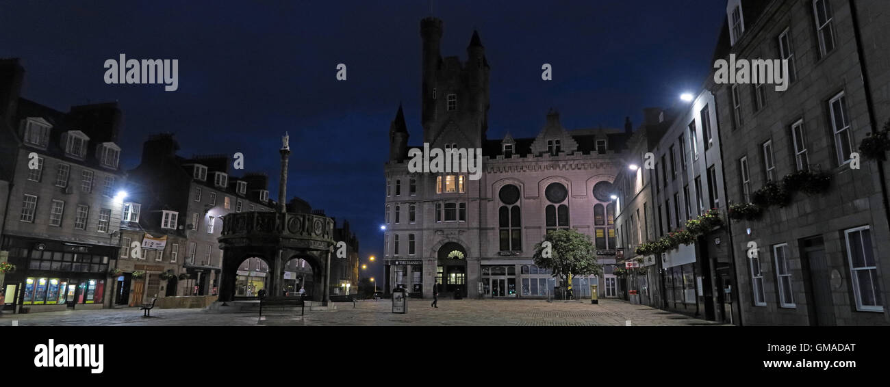 Castlegate, Mercat Cross Aberdeen City Centre, Scotland, at dusk - Panorama - Stock Image