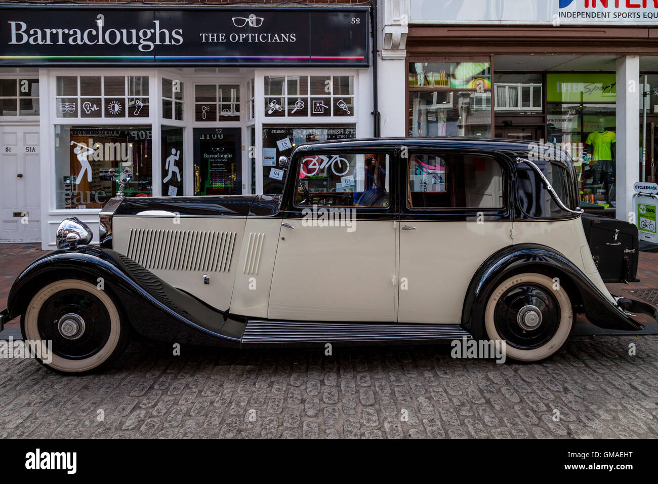 A Vintage Rolls Royce Motor Car Parked In Lewes High Street, Lewes, Sussex, UK - Stock Image