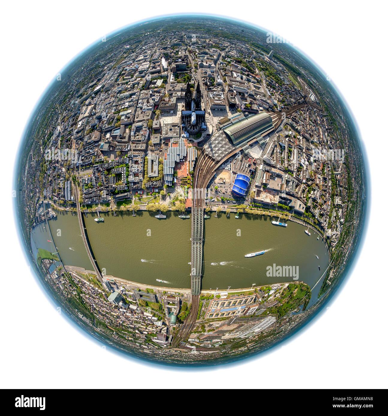 Aerial view, fisheye image of Cologne with Rhine, Messe Köln Philharmonie Cologne, Museum Ludwig, Cologne Cathedral, - Stock Image