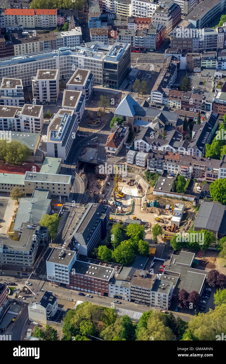 Aerial view, construction site at the location of the inserted assisted City Archive of Cologne, collapse of Historical - Stock Image
