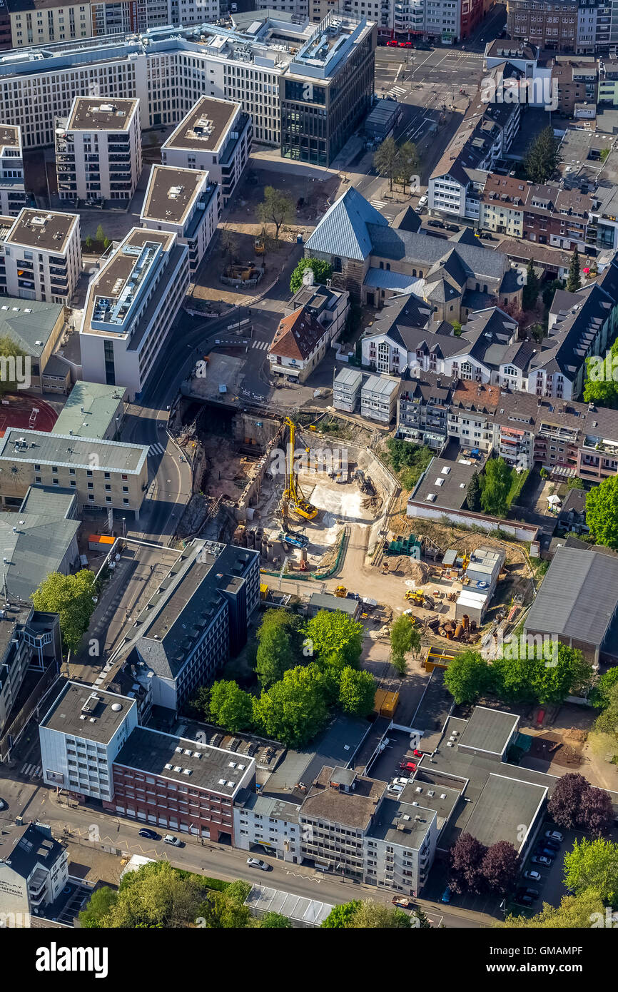 Aerial view, construction site at the location of the inserted assisted City Archive of Cologne, collapse of Historical Stock Photo