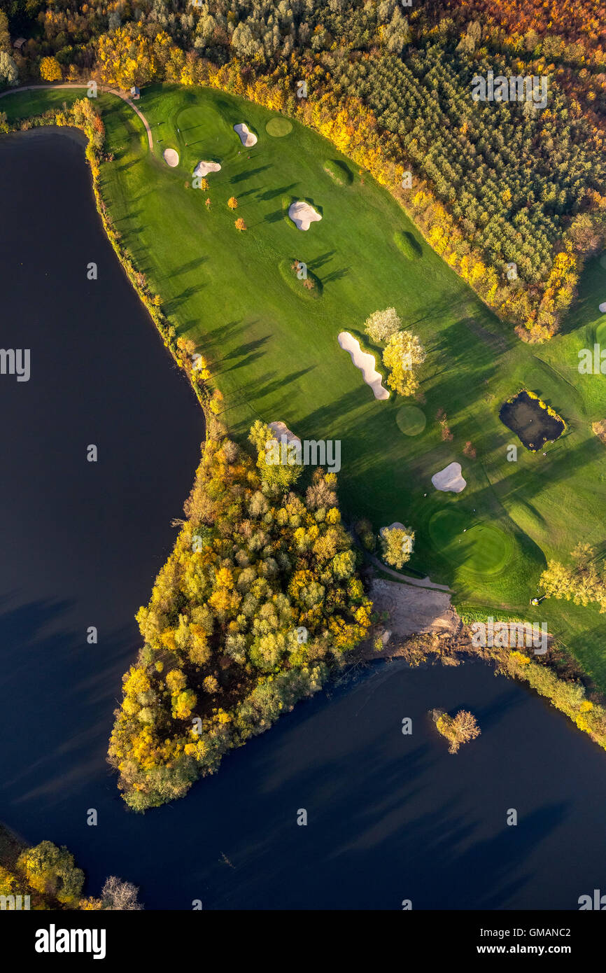 Aerial view, golf and more Duisburg Huckingen, Golf Course Duisburg, bunkers, sand pits, on Remberger lake, aerial - Stock Image