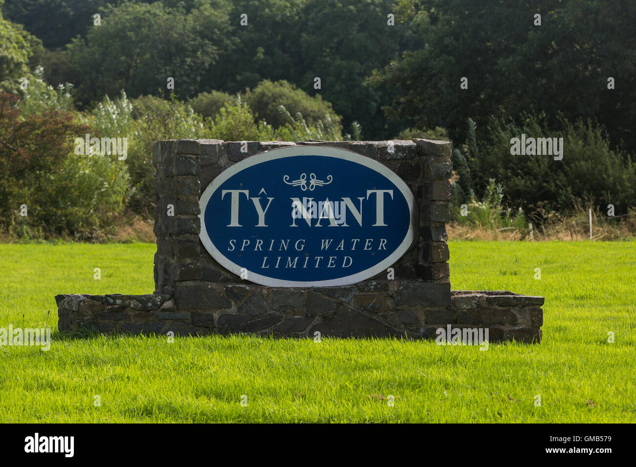 Ty Nant spring water sign on the entrance to the factory in Bethania Wales - Stock Image