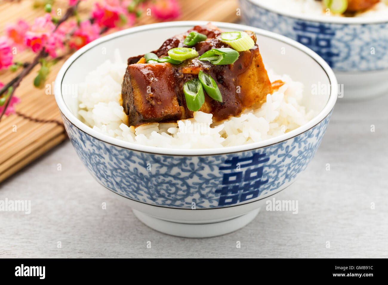 pieces of smoked barbecue tofu with rice and green onions. - Stock Image