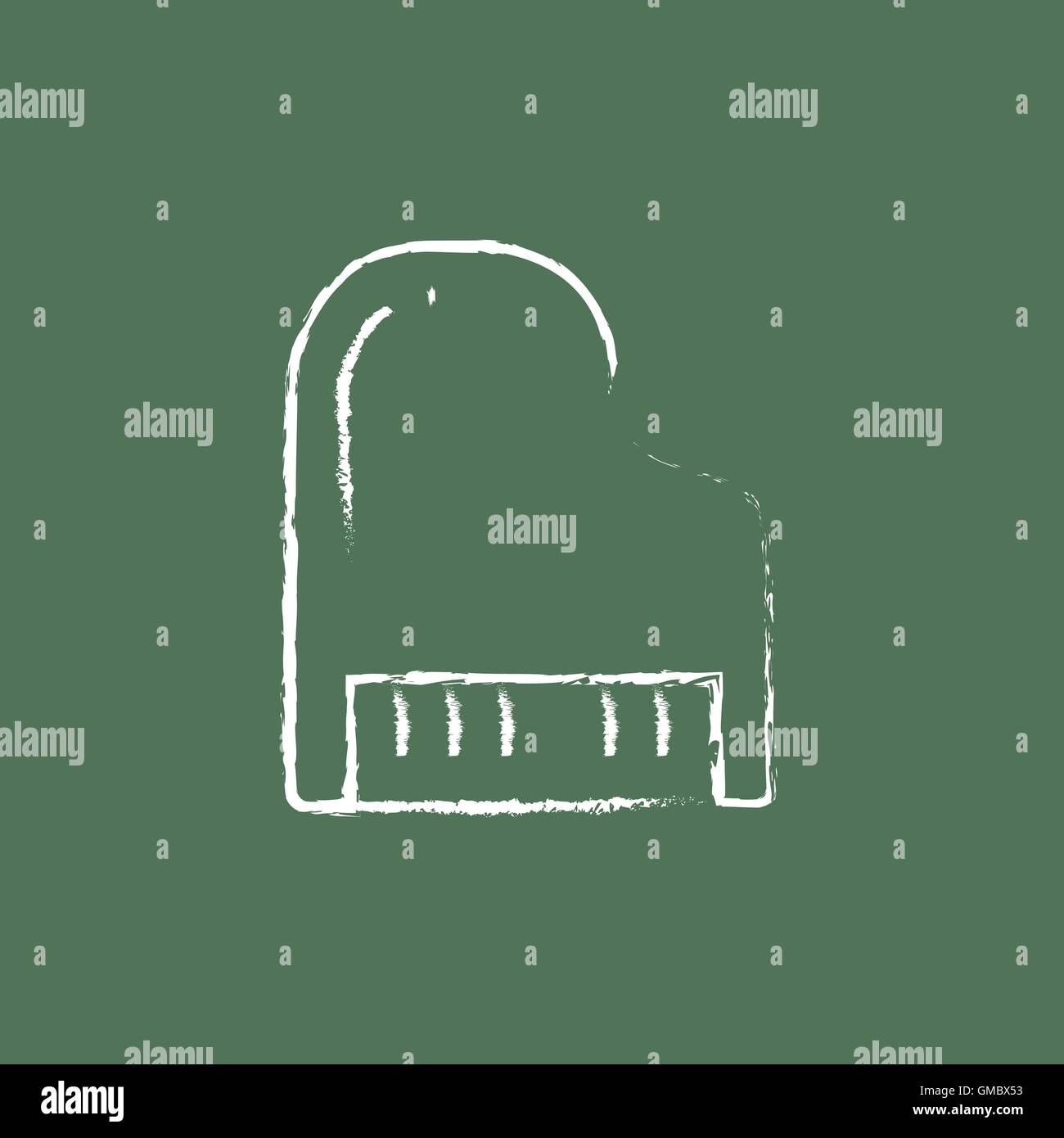 Piano icon drawn in chalk. - Stock Image