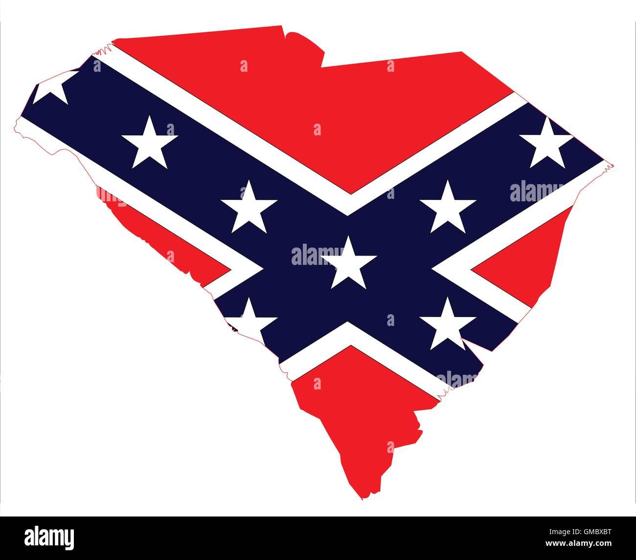 South Carolina Map And Confederate Flag Stock Vector Art