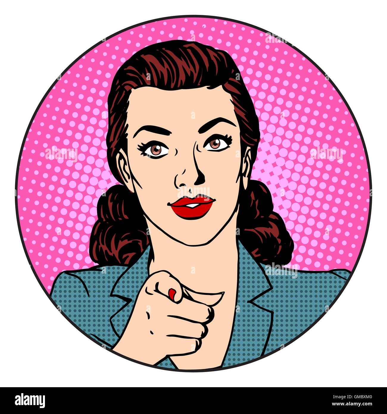 Businesswoman wants in the circle business concept - Stock Vector