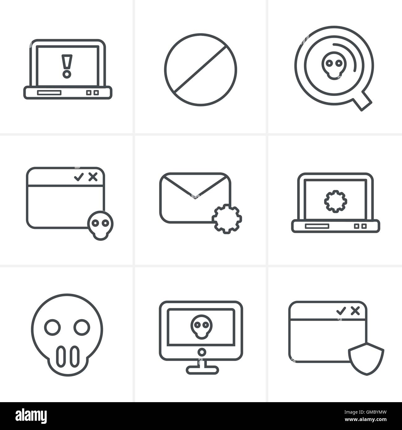 Line Icons Style  Digital criminal icons set - Stock Vector