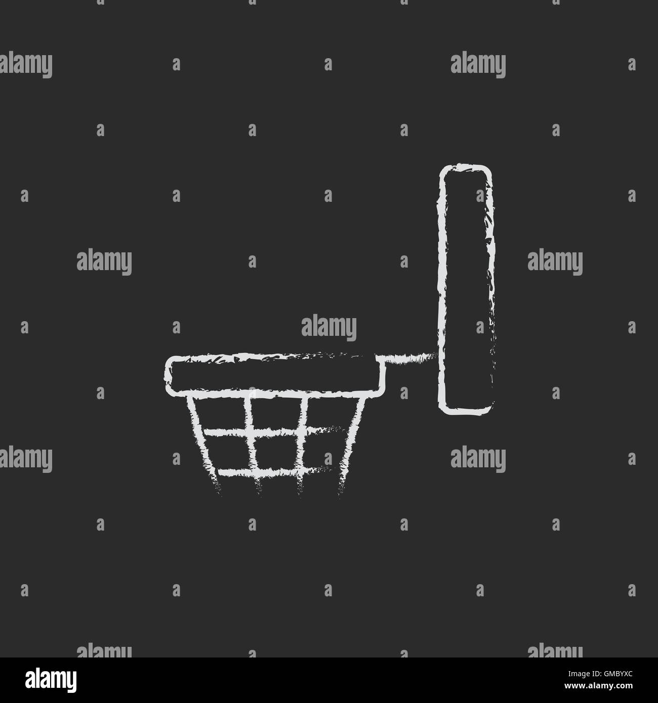 Basketball hoop icon drawn in chalk. - Stock Image
