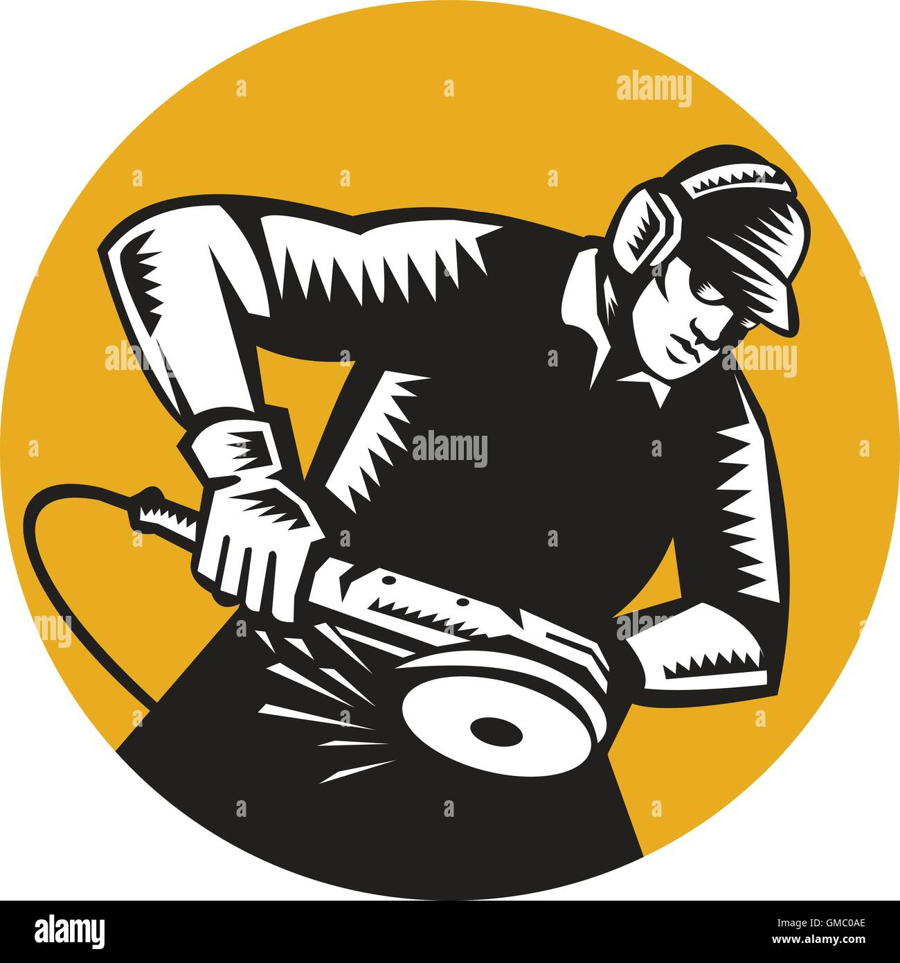 Worker Angle Grinder Oval Woodcut - Stock Vector