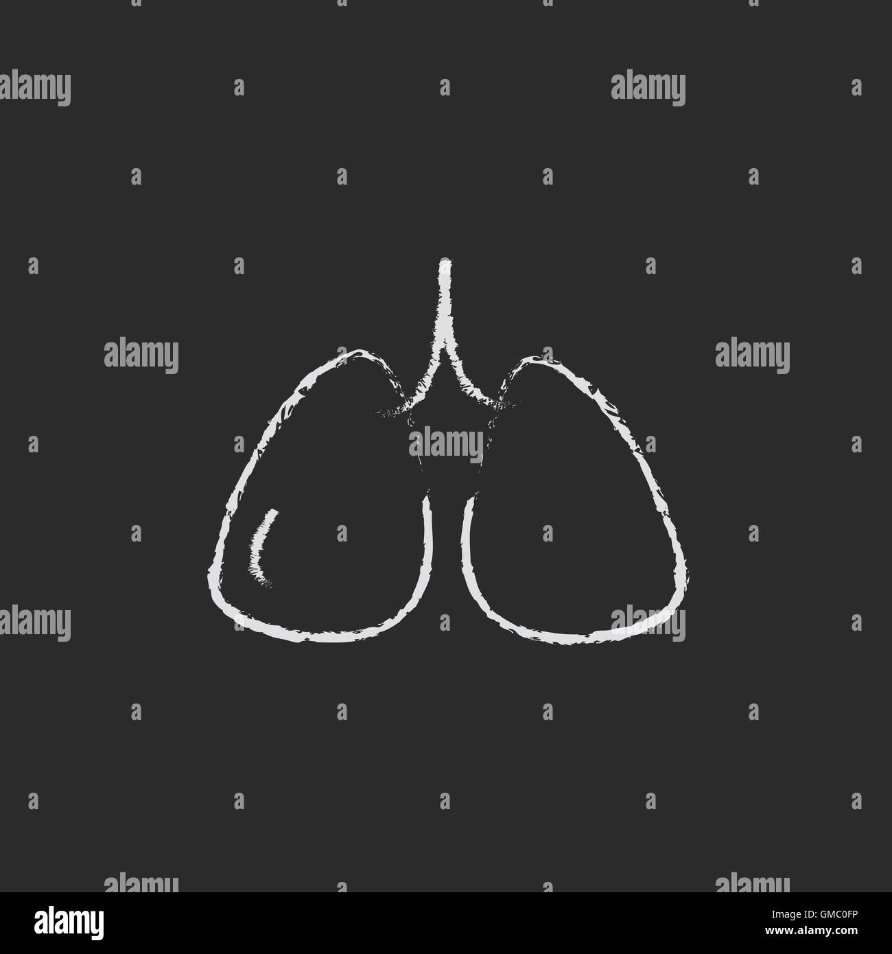 Lungs icon drawn in chalk. - Stock Image