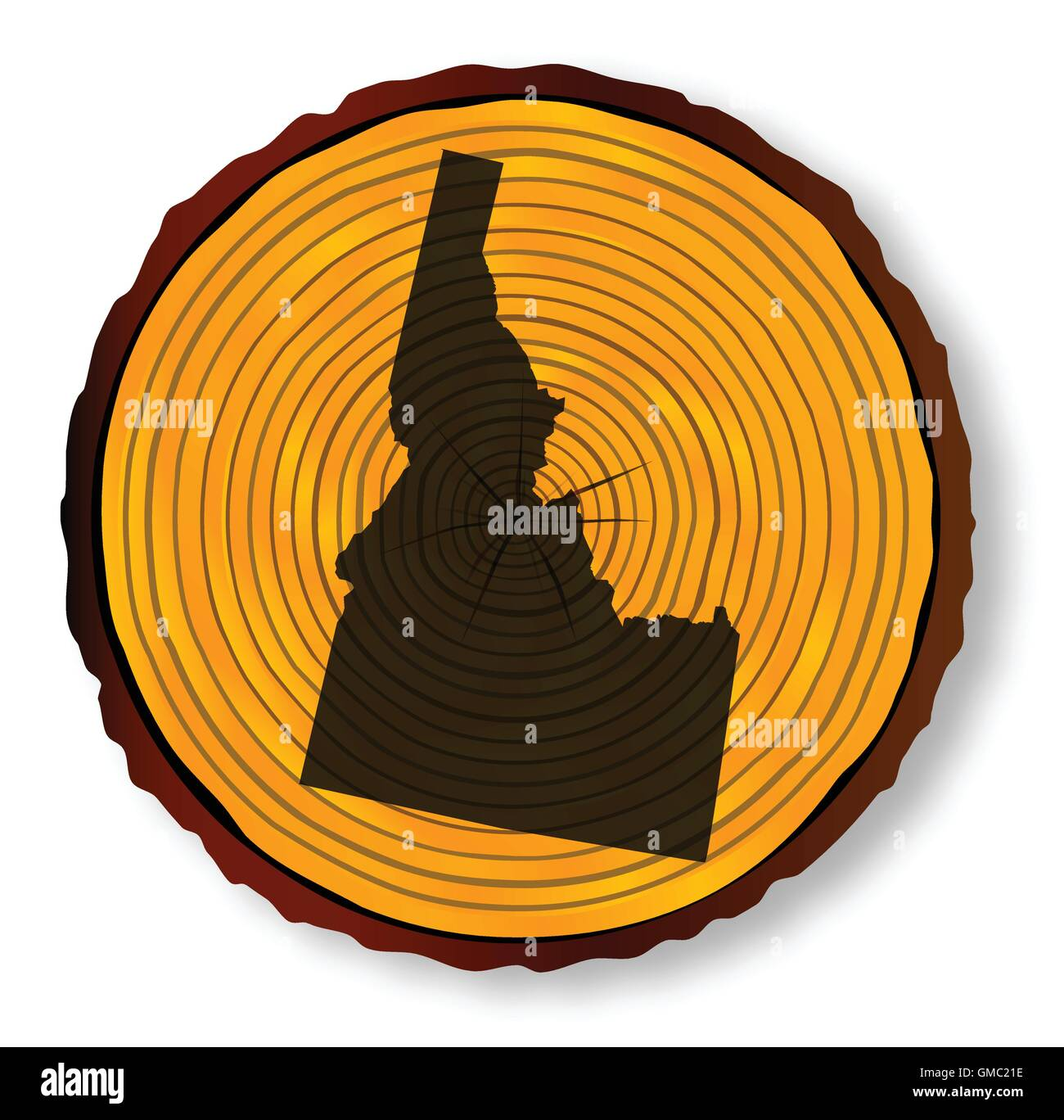 Idaho Map On Timber - Stock Image
