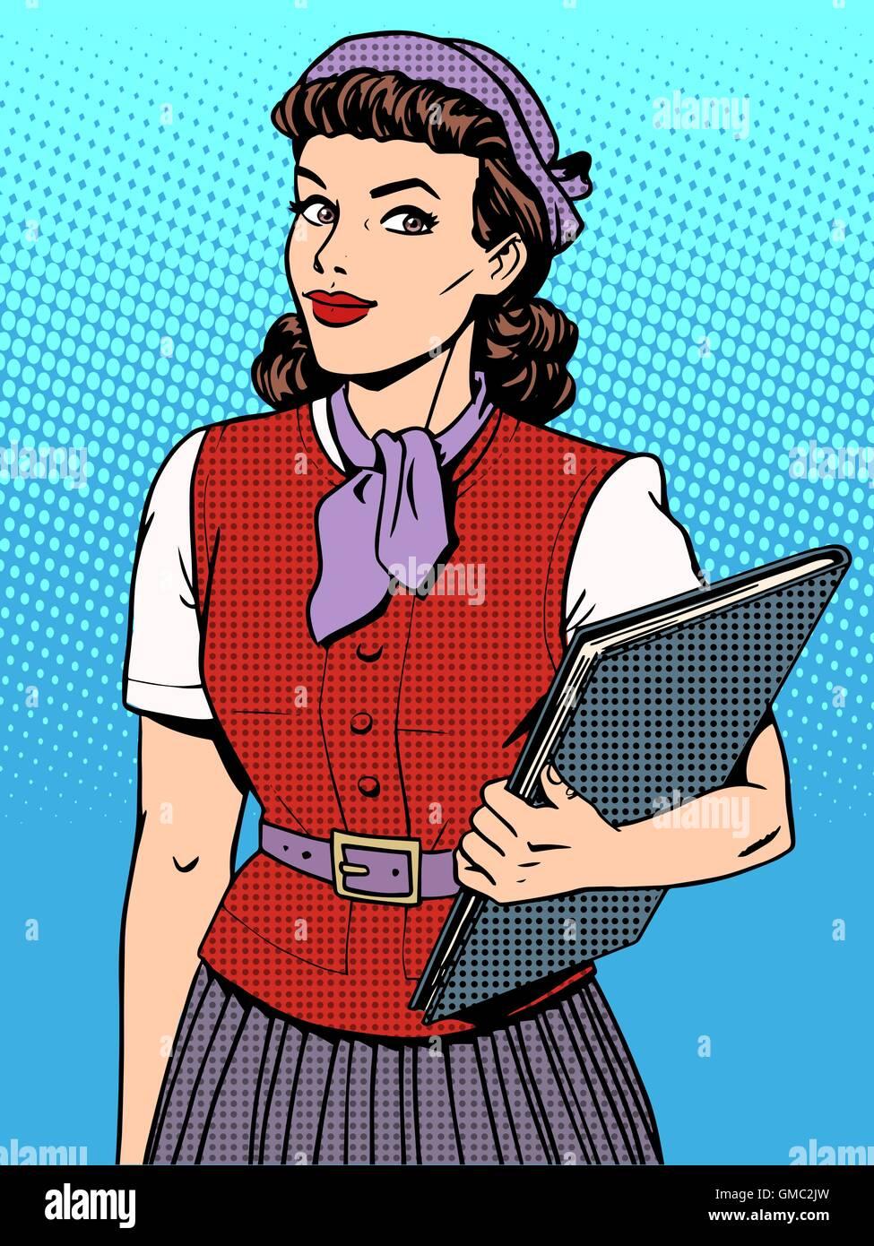 Businesswoman seller consultant hostess - Stock Vector