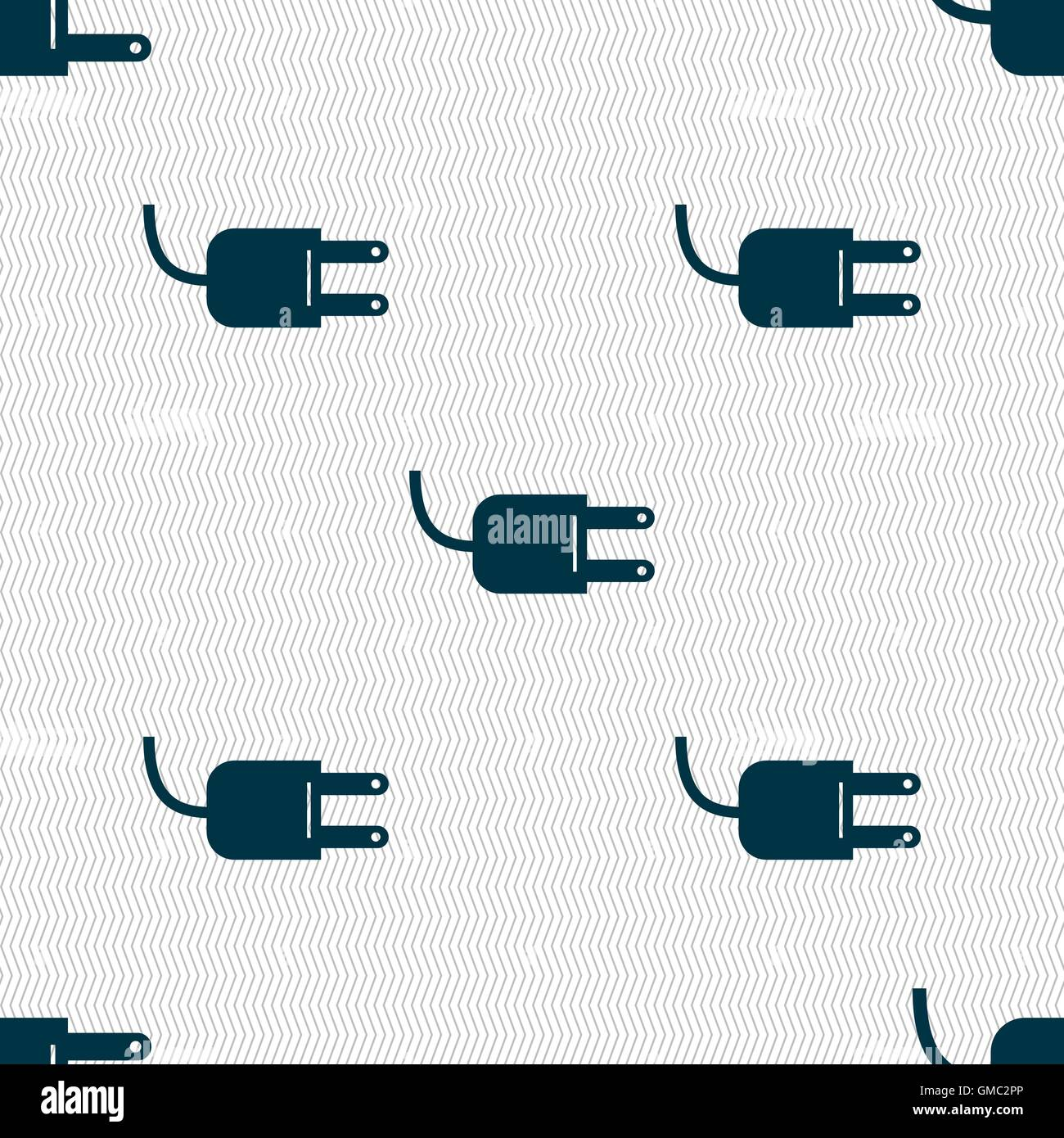 Electric plug sign icon. Power energy symbol. Seamless abstract ...