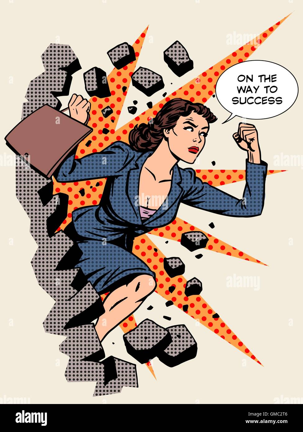Business success businesswoman breaks the wall Stock Vector