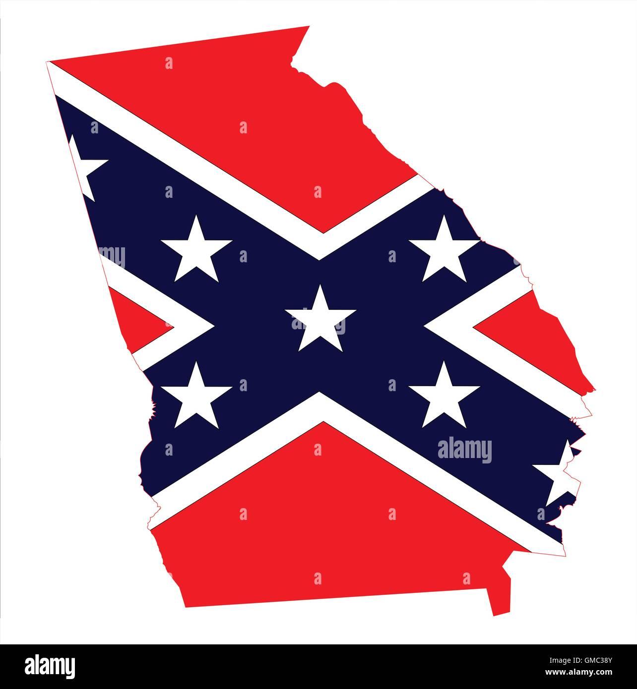 Georgia Map And Confederate Flag Stock Vector Art