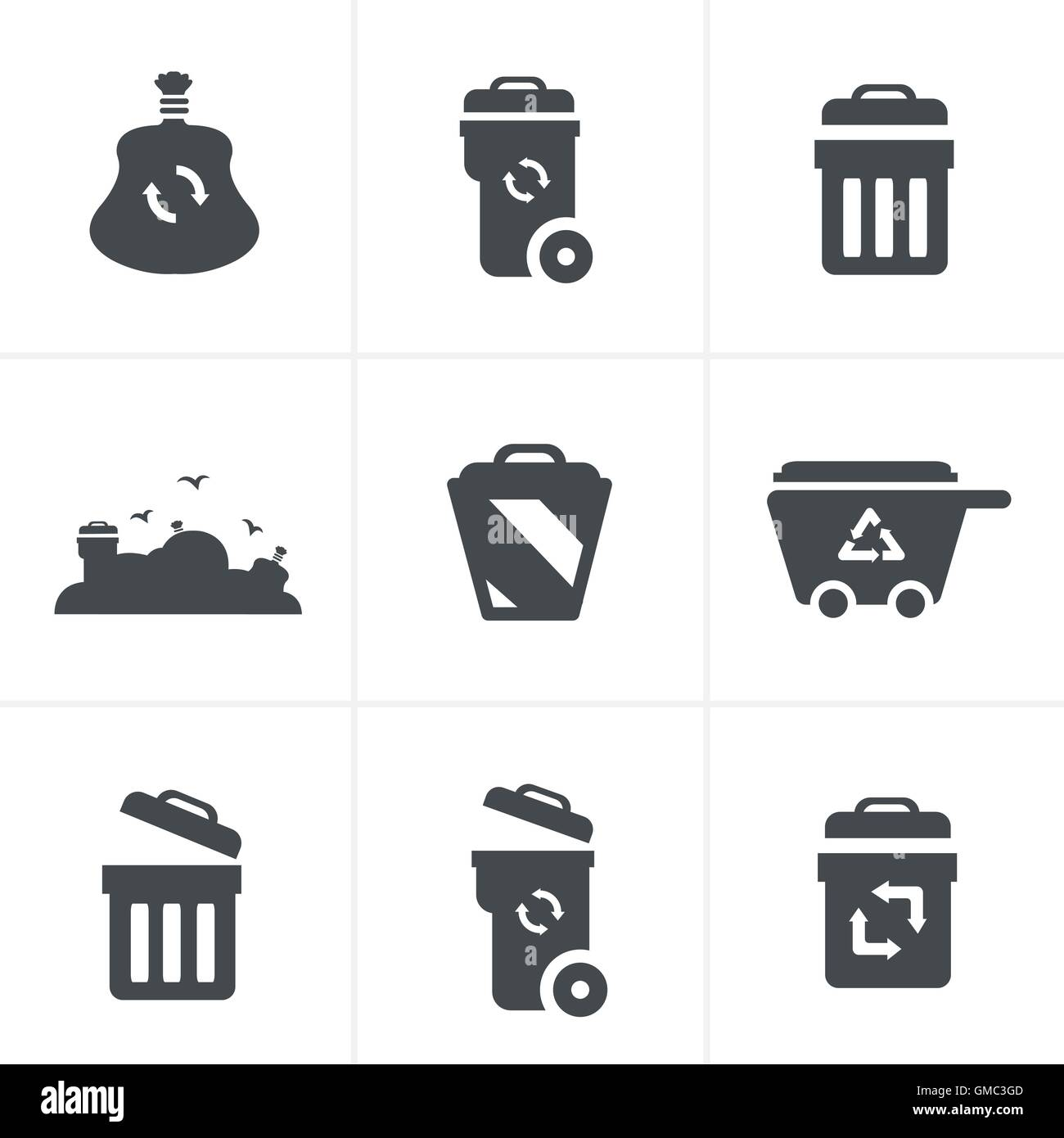 Garbage Icons - Stock Vector