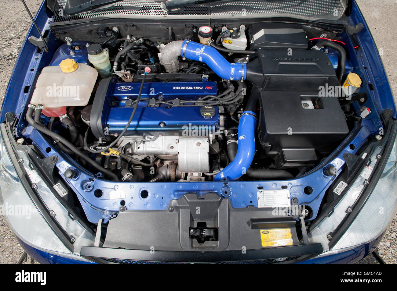Ford Focus RS Mk1 engine bay, high performance hot hatch car Stock ...