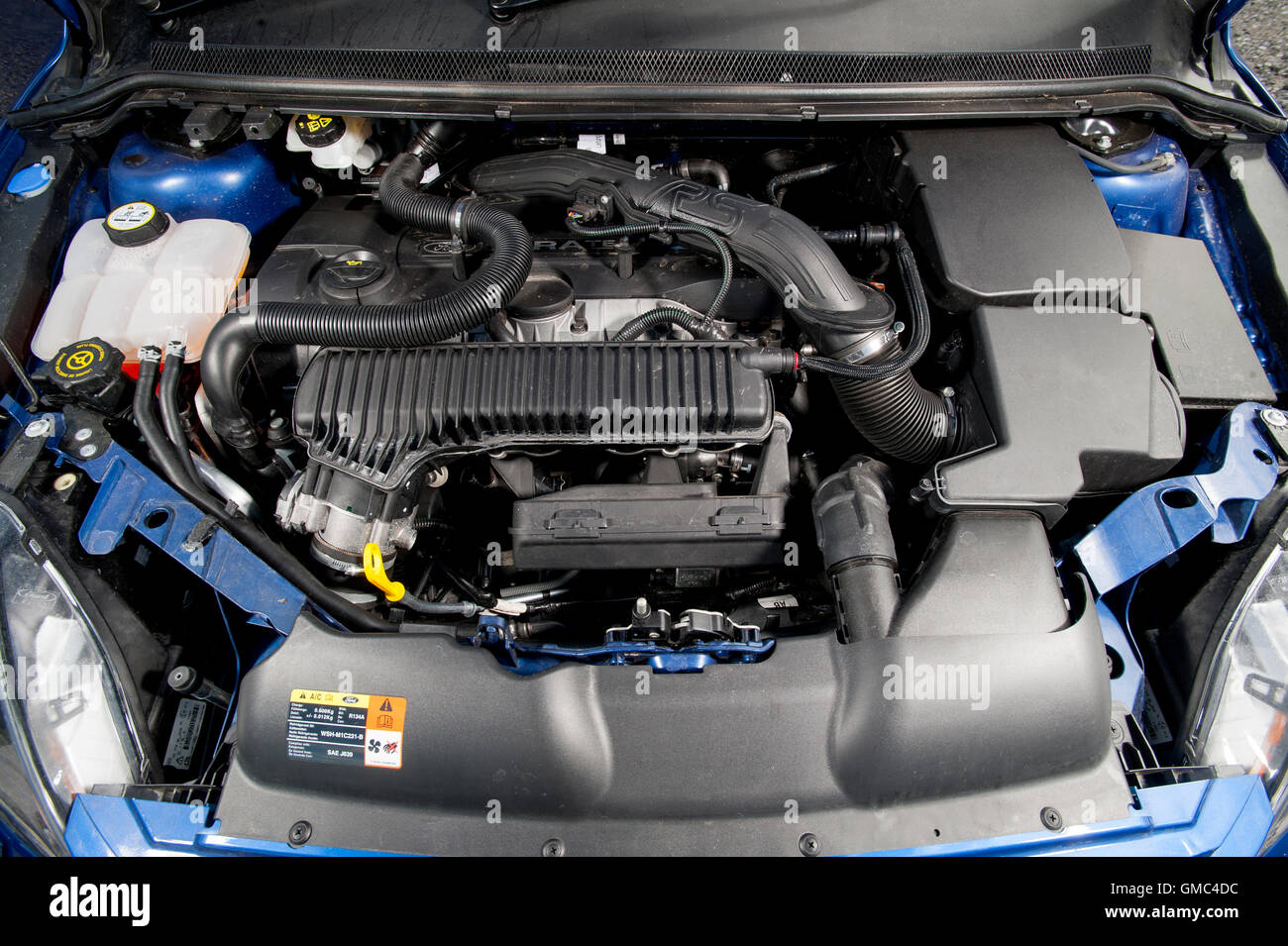 Ford Focus RS Mk2 engine bay, high performance hot hatch car Stock ...
