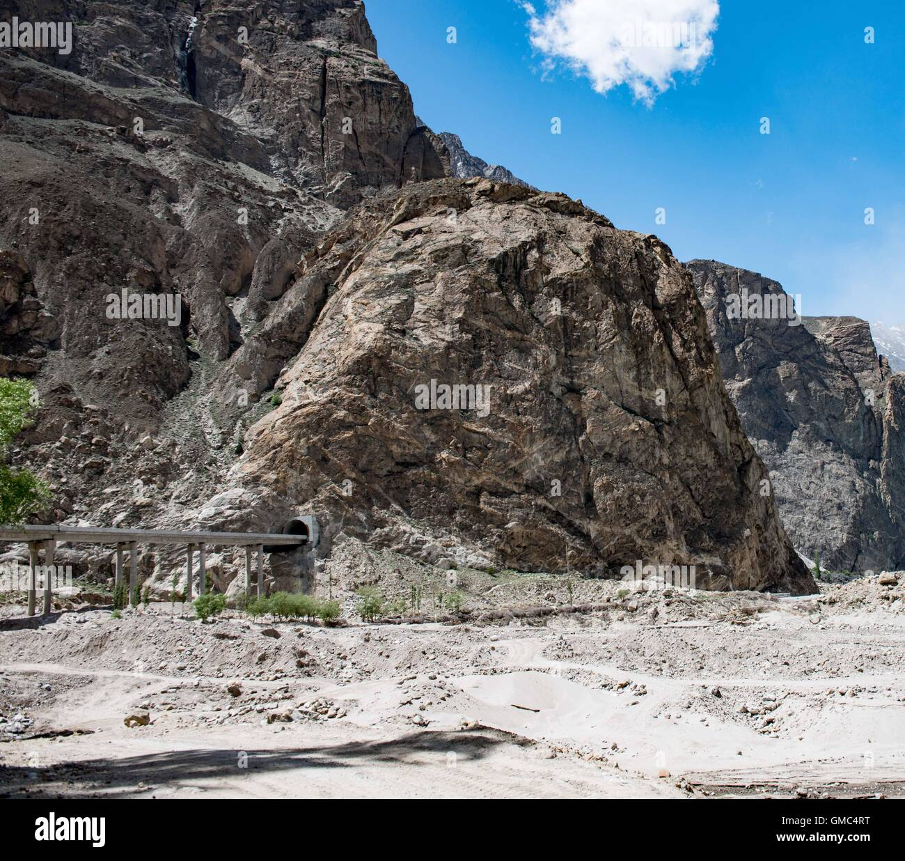 Chinese built road tunnel beside Attabad lake Stock Photo