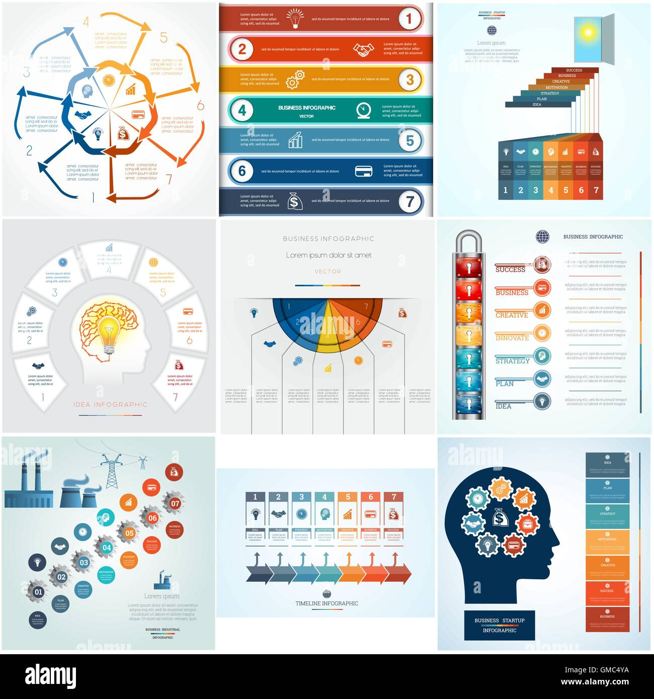Set 9 templates Infographics business conceptual cyclic processes for seven positions text area - Stock Image