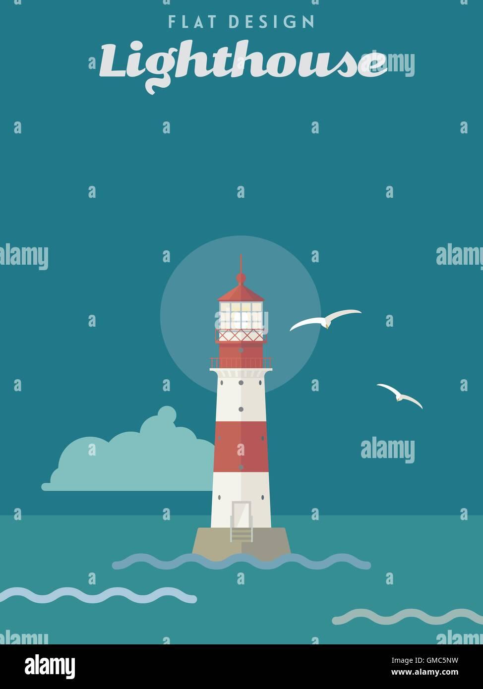 Vector illustration of illuminated lighthouse, flat design - Stock Image