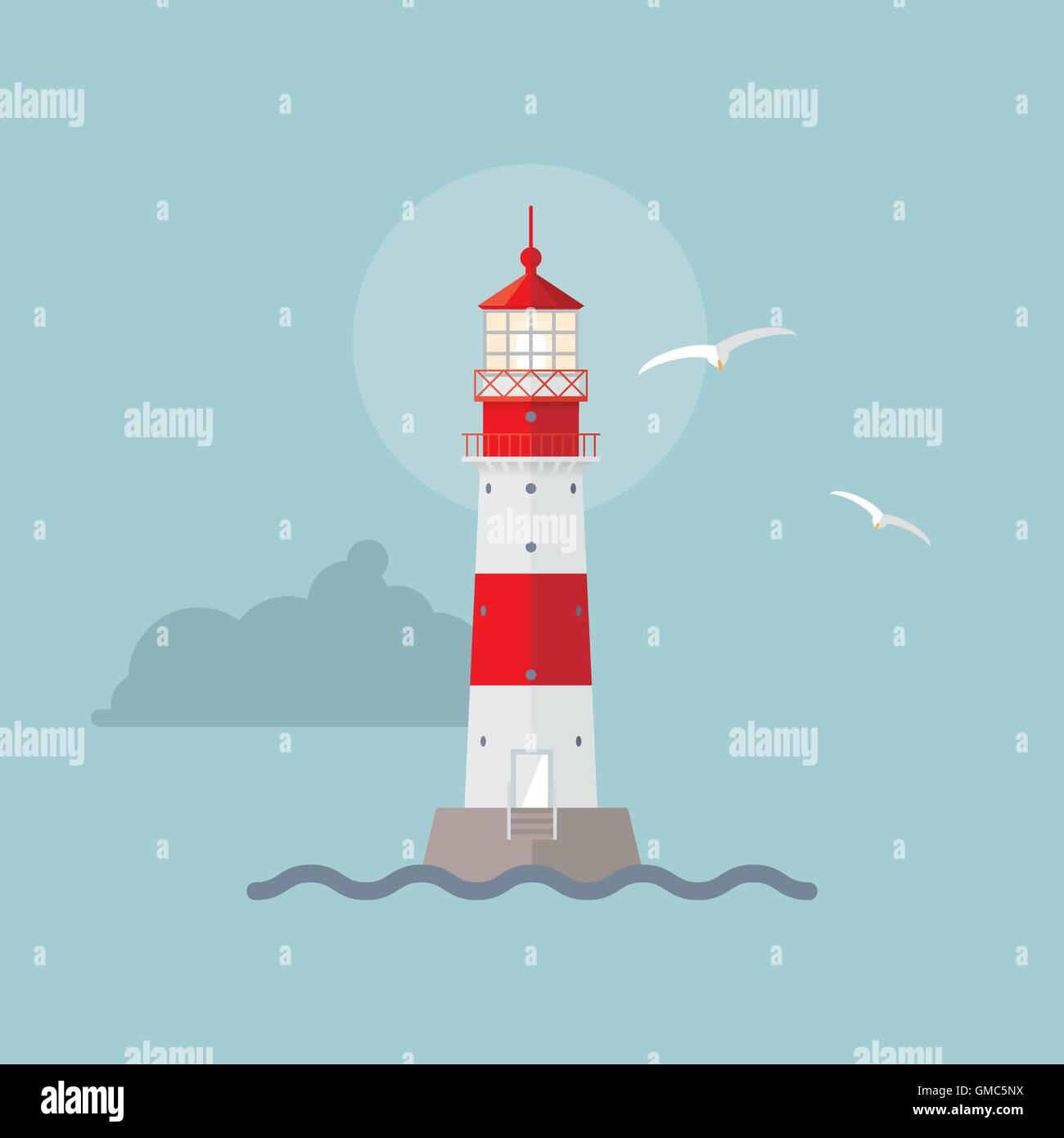 Vector illustration of illuminated lighthouse Stock Vector