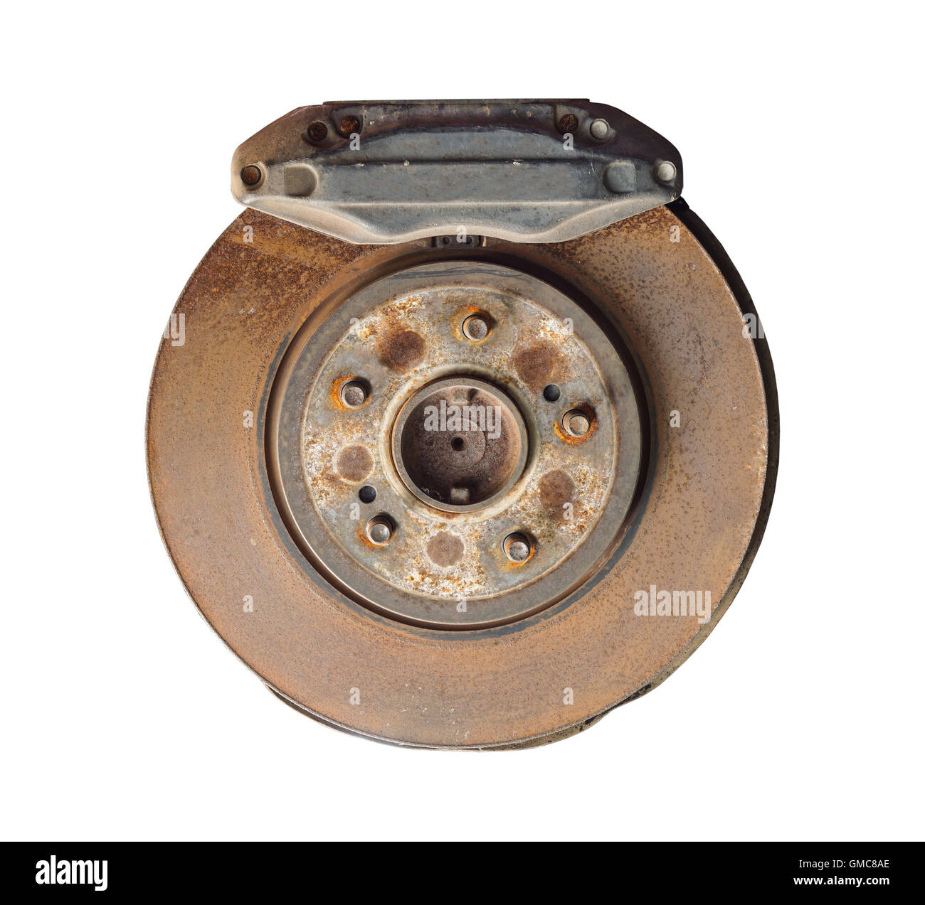 Old and rusty car disc brake and caliper, isolated on white background - Stock Image