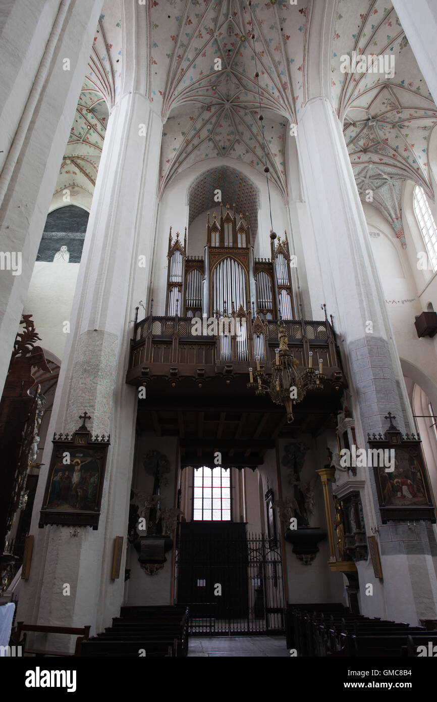 Pipe organ in Torun Cathedral, Poland, Church of St. John the Baptist and St. John the Evangelist - Stock Image
