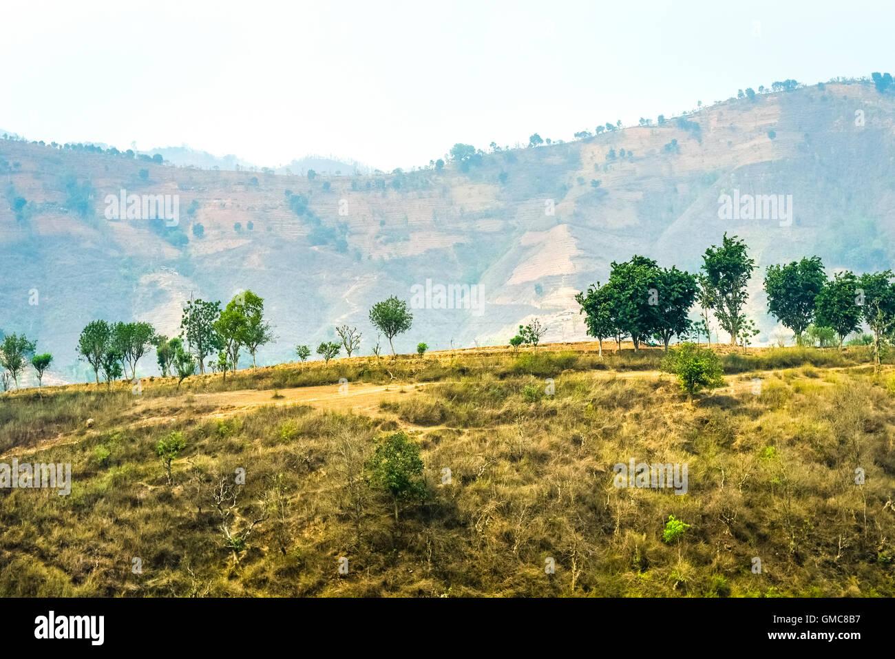 Dry landscape of Gandaki Zone, Nepal. - Stock Image