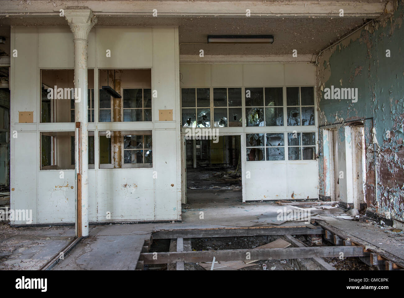 Inside one of the many wards at Denbigh Asylum, Denbigh, Denbighshire, Wales, UK - Stock Image